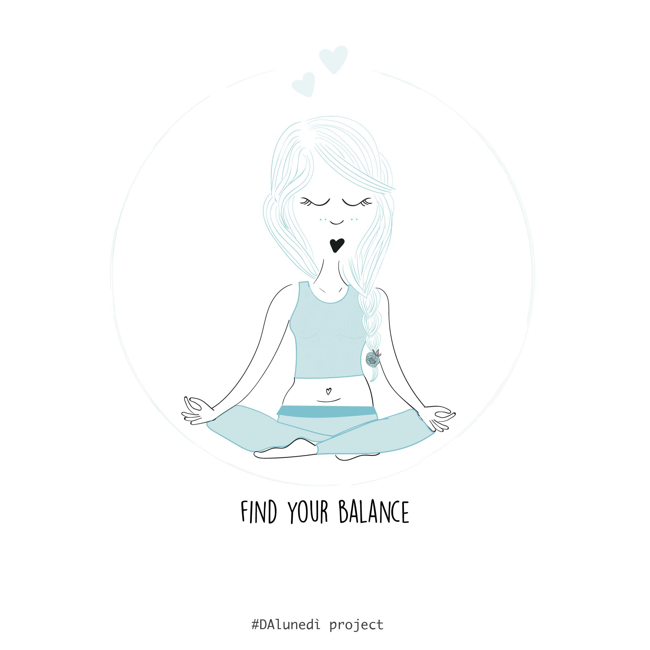 Ilustrazione di Dalunedì project Ragazza che fa Yoga - Find your balance