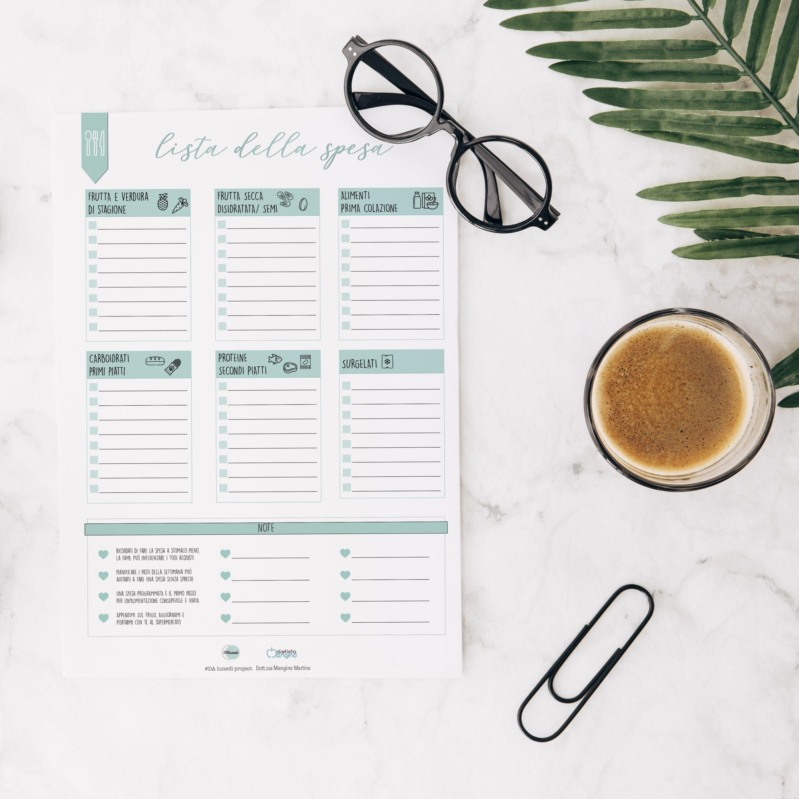 Lista della spesa consapevole da stampare, compilare e portare con te al supermercato.